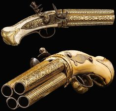 the-wicked-knight: Four barreled Indo-Persian flintlock pistol, possibly Indian or Ottoman, century, the four barrels fully decorated in gold damascening with stylised foliate designs, the ivory grip with studded design Weapons Guns, Guns And Ammo, Zombie Weapons, Rifles, Bateau Pirate, Flintlock Pistol, Steampunk Weapons, Armas Ninja, Cool Guns