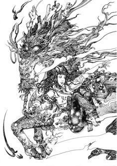 Known for his illustration work for video games and comics, Katsuya Terada's solo exhibition 'Terra's Black Marker'atCompound Gallery, showed that beyond this, Terada is simply an amazing artist. These are some of the most beautiful pieces of linework that I've ever seen. Using only the simple black marker, Terada creates intricate and dynamic images offantasticbeasts …