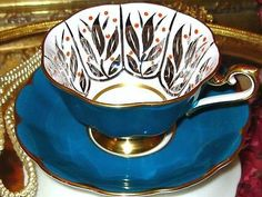 ROYAL-ALBERT-ORANGE-POLKA-DOT-TEAL-WIDE-Tea-Cup-and-Saucer-HP-VINTAGE-TEACUP
