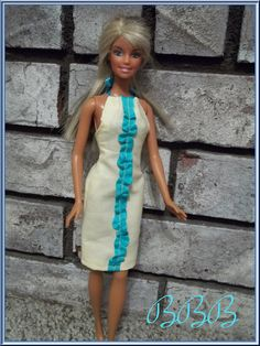 Barbie Dress  Ruffled Halter Dress  Yellow by BarbieBoutiqueBasics, $7.00