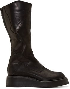 Julius Black Leather Panelled Platform Boots