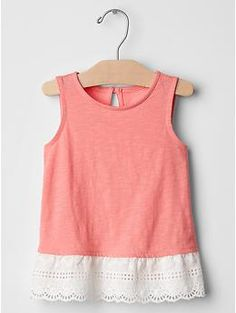 Eyelet mix-fabric tank: $24.95, available in sizes 12 months to 5 years. Gap Kids & Baby Gap: $$, local Cville franchise