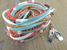 Coral & Turquoise Cottage Chic Boho.   by AllStrungOut925