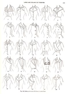 """DIFFERENT STYLES OF LAPELS + COLLARS CUT TOGETHER""  from book, Practical Dress Design by Mabel Erwin, 1954."