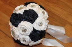 Navy Blue & White Brooch Bouquet FULL PRICE Blue by HeyBouquet, $145.00