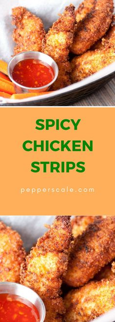 This spicy chicken strips recipe doubles down on the heat - both the breading and the meat deliver a punch. With video - see this recipe being made. Cayenne Pepper Recipes, Chipotle Recipes, Meat Recipes, Appetizer Recipes, Delicious Recipes, Appetizers, Chicken Strip Recipes, Chicken Strips, Chicken Wings Spicy