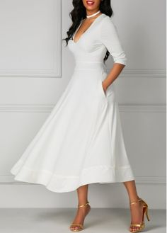 Half Sleeve V Neck High Waist White Dress