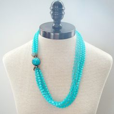 Vintage Necklace, Blue Multi Strand Necklace, Turquoise Blue Six Strand with Cabochon Clasp, Long Blue Statement Necklace  Clear diamond shape and