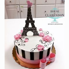 Pink and Black Paris Eiffel Tower Cake – Kuchen Rezept Paris Birthday Cakes, Paris Themed Cakes, Paris Themed Birthday Party, Paris Cakes, Novelty Birthday Cakes, Paris Party, Birthday Cake Girls, 10th Birthday, Best Birthday Cake