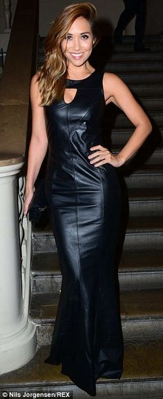 Myleene Klass wows in black leather fishtail gown at Attitude Awards #dailymail