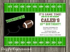 Football party invitation template free printable football printable football birthday invitation boy sports birthday party idea green chevron free thank stopboris Image collections