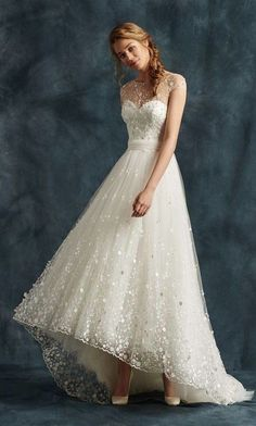 cap sleeve high low ballgown wedding dress via atelier eme 2017