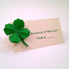 St. Patrick's Day Shamrock Place cards, Four Leaf Clover Origami Wedding Escort Cards- sets of 20