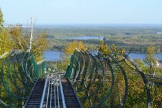 At its highest points, Timber Twister offers truly breathtaking views of Duluth. You'll look out over the tops of trees to catch a glimpse of the St. Louis River sparkling below. Camping Places, Camping Spots, Places To Travel, Places To Visit, Travel Destinations, Rv Camping, Backpacking, Duluth Minnesota, Summer Travel