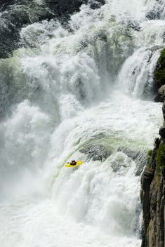 Kayak paddling in Lower Mesa Falls, Idaho