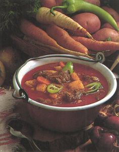 Goulash Soup: This is a classic Hungarian dish that has been around for centuries.  It is usually made of beef (sometimes pork), vegetables (onions,tomatoes, carrots, peppers), and various spices.