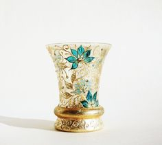 Hand Painted Glass Vase Vntage VaseCandle Holder by NevenaArtGlass, $80.00