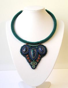 Bead embroidery necklace Fashion - Choker collar with azurite India ...1160 x 1500 | 316.4KB | www.etsy.com