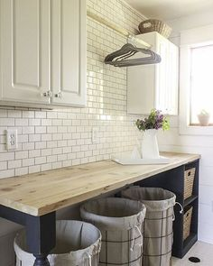 Fineeeee...we'll do the laundry @twelve.on.main shares her dreamy makeover on #Hometalk! #DIY #farmhouse #farmhousestyle #laundryroom #laundryroommakeover #laundryroomdecor #roomreveal #farmhousedecor #remodel #subwaytile #butcherblock