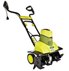 Sun Snow Joe Max Corded Electric Tiller 9 AMP: Cultivates to a depth of 7 inches.  Great for creating new beds, prepping older gardens and mixing in soil amendments.