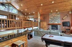 Big Bear Cabin #39 Gold Rush Resort 4Bed/3 Bath Great for Families! To Book call (310) 800-5454 or click the image! #BigBear #vacation #5starvacation #billiards #kitchen #livingroom #fireplace