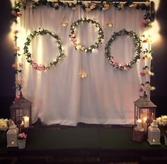 43 ideas that make the party incredible Desi Wedding Decor, Luxury Wedding Decor, Diy Wedding Backdrop, Wedding Stage Decorations, Birthday Backdrop, Backdrop Decorations, Diy Engagement Decorations, Mehndi Decor, Wedding Background