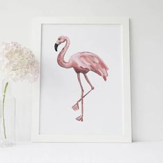 Flamingo Print Gift for Her Tropical Wall Art Pink