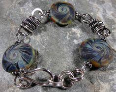 Blue Swirled Lampwork and Sterling Silver by PattiVanderbloemen, $70.00