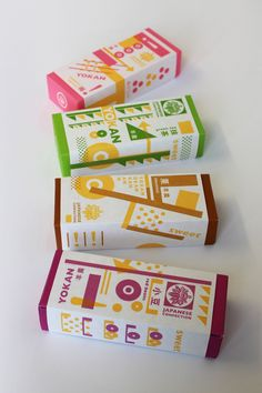 パッケージ 包装紙 羊羹 #package #packaging #branding #design #silkscreen #printmaking Japanese confection http://yokonire.com/ made by yokonire