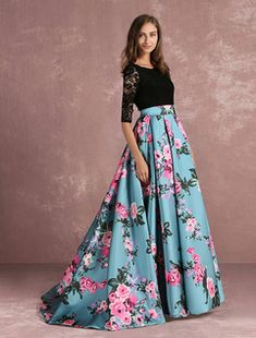 Floral Prom Dress Lace Backless Printed Pageant Illusion Sleeve Pleated A Line Party Dress With Chapel Train & Wedding > Occasion Dresses > Prom Dresses Floral Skirt Outfits, Floral Prom Dresses, Long Skirt Outfits, Indian Gowns Dresses, Prom Outfits, Indian Fashion Dresses, Girls Fashion Clothes, Prom Party Dresses, Formal Evening Dresses