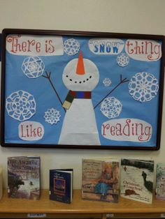 There is snow thing like reading. Change the word reading to Jesus for church bulletin board. Reading Bulletin Boards, Winter Bulletin Boards, Preschool Bulletin Boards, Bulletin Board Display, Bullentin Boards, Teaching Displays, School Displays, Library Displays, Book Displays