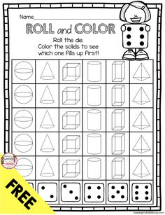 Kindergarten Geometry Unit FREEBIES — Keeping My Kiddo Busy FREE Roll and Cover Solids Kindergarten Geometry Unit - Math Centers - Worksheets - Assessment - Common Core Aligned Shape Activities Kindergarten, Kindergarten Math Worksheets, Teaching Kindergarten, Free Activities, 3d Shapes Activities, 3d Shapes Worksheets, Common Core Math, Math Centers, Printable Worksheets