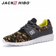 JACKSHIBO Brand Men Casual Shoes Spring Autumn Fashion Man Shoe Zapatillas Hombre Army Green Mens Shoes Casual Footwear