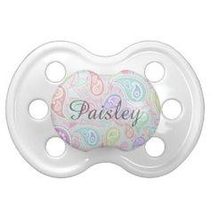 Paisley Pattern custom Pink Teal Floral Swirl Pacifier
