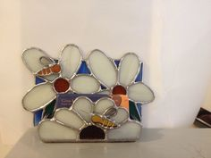 Stained Glass Foraging Bees on Flowers Business Card Holder