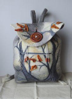 Wool backpack with tree, Felted backpack Nuno Felting, Needle Felting, Felt Purse, Handmade Felt, Handmade Purses, Felt Art, Fabric Art, Shibori, Felt Crafts