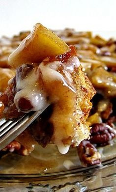 Upside-Down Cinnamon Apple Coffee Cake ~ Nice and gooey with plenty of pecans…