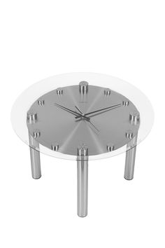 The Tisch Glass/Silver Coffee Table Clock