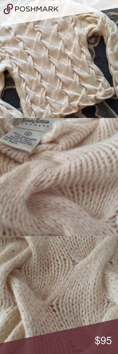 Fluffy cashmere!  Neiman Marcus luxe knit! Size small, thick and SOFT cashmere sweater.  Size small.  Very faint marks shown in 3rd pic - not at all visible on, but price reflects that. Neiman Marcus Sweaters Cowl & Turtlenecks