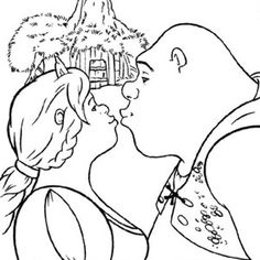 Shrek, Shrek And Princess Fiona Kissing Coloring Page: Shrek and Princess Fiona…