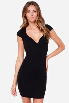 Love Contours All Black Bodycon Dress at LuLus.com!