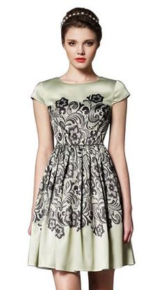 Gorgeousness! Love this Dress! Mint Green Vintage Style High Waist Floral Print Dress #Mint #Green #Vintage #Style #Black #Holiday #Party #Dress #Fashion