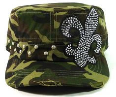 CAMO FLEUR DE LIS RHINESTONE CADET CAP HAT Beautiful rhinestone bling hat. It features great color, lots of bling, and is super comfortable! Cadet style cap Adjustable back Ponytail opening One Size Fits Most 100% Cotton (minus rhinestones) http://www.therusticshop.com/?store=therusticshopbycindy #rhinestones #hat #camo