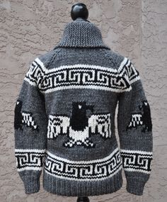 We have a wonderful selection of Cowichan and Cowichan-inspired patterns, along with the yarn and needles needed to create these beautiful sweaters - visit our online store ... https://www.artofyarn.com/product/byCategory/vintage-patterns-pdf-format/ http://www.artofyarn.com/blog/wp-content/uploads/2013/11/Eagle-Cowichan-Style-Sweater3.jpg knitting