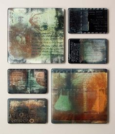 Kristin McFarlane (Australia), The Lost Art of Letter Writing. Fused, engraved, powders, silver leaf, fiberglass inclusions, china paints, onglaze, Postcards: 3.5 x 5.5 x .25 Panels: 8 x 8 x .5 in.