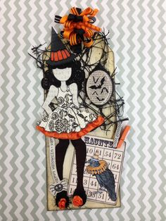 I'm loving the Julie Nutting Prima Dolls. This is my Halloween cutie! Prima Paper Dolls, Paper Doll Craft, Prima Doll Stamps, Doll Crafts, Halloween Scrapbook, Halloween Tags, Halloween Crafts, Scrapbook Paper Crafts, Scrapbook Cards