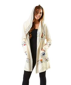 Another great find on #zulily! Cream Embroidered Open-Hooded Cardigan…