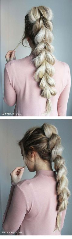 Tips To Instantly Make Your Hair Look Thicker - How To: Pull-Through Braid Easy Braid Hairstyle - DIY Products, Step By Step Tutorials, And Tips And Tricks For Hairstyles That Make Your Hair Look Thicker. Hair Styles Like An Updo Or Braiding And Braids To