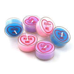 Melt Your Lover's Heart with These Candy Heart Tea Lights #Candleholder #Candles trendhunter.com