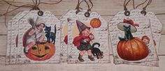 9 Vintage Style Halloween Pumpkin Black Cat Hang Tags Gift Ties Party Favors…